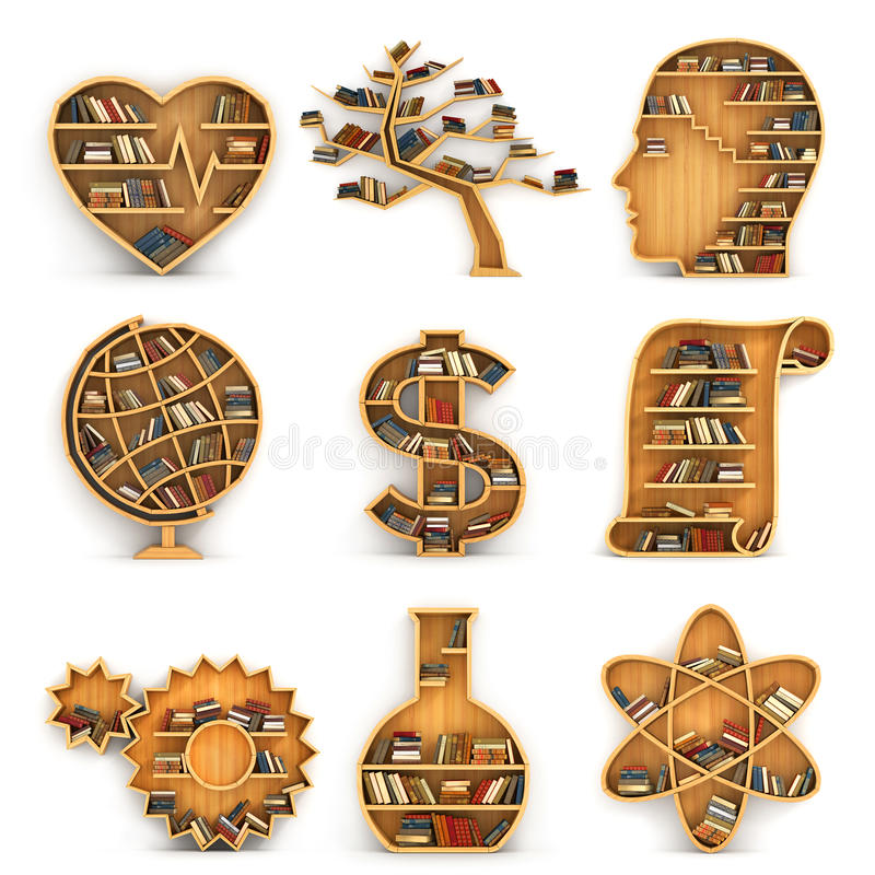 以方向科学的形式,书架组fullof预定 科学的概念 生物,生态,心理学,地理, econ 库存例证