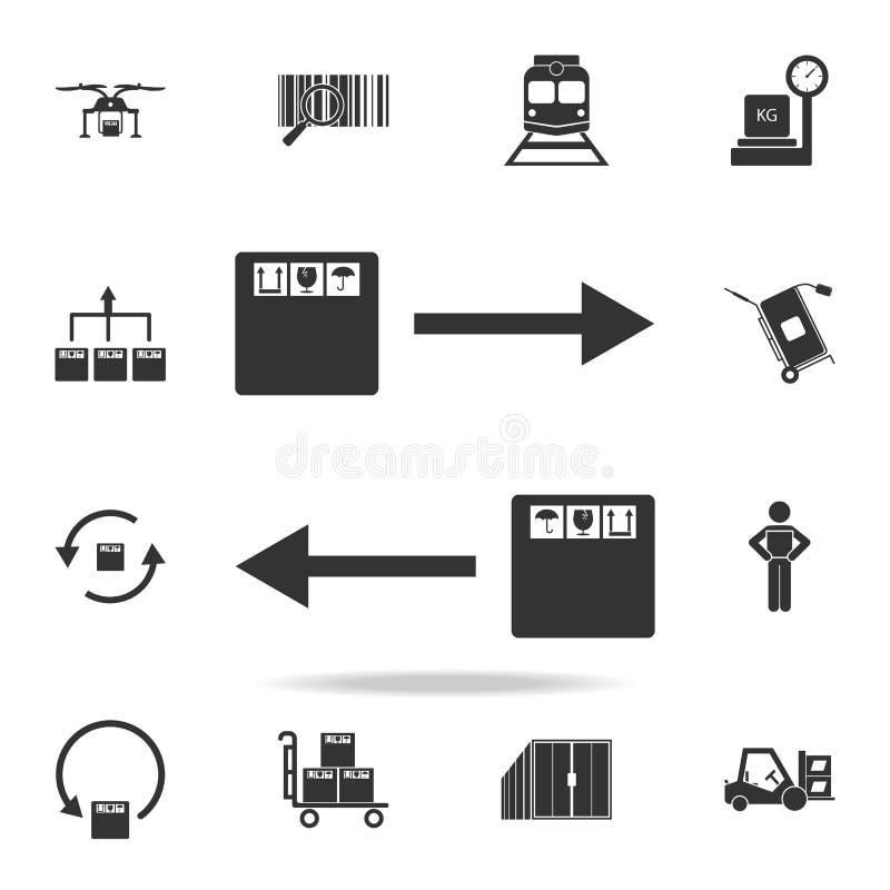 方向箭头和包装盒象 详细的套后勤象 优质图形设计 其中一个w的汇集象 皇族释放例证