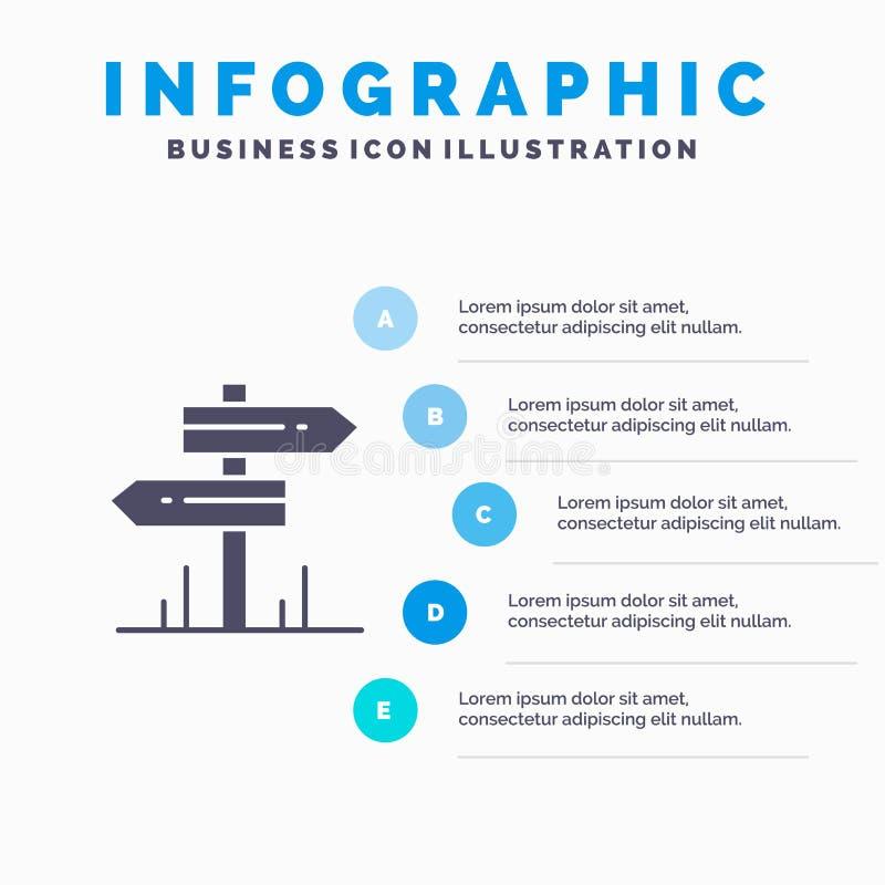 方向,旅馆,汽车旅馆,室Infographics介绍模板 5步介绍 向量例证