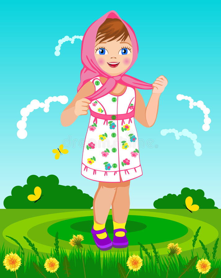 方巾的小女孩 皇族释放例证