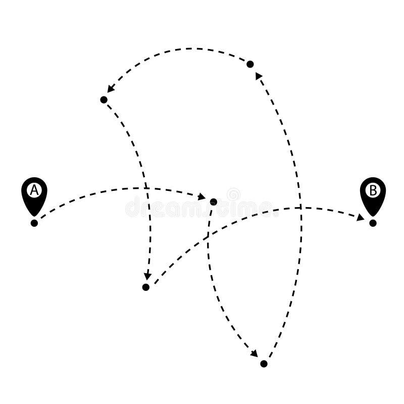 方式从A到B点,有踪影的地图别针 r 库存例证
