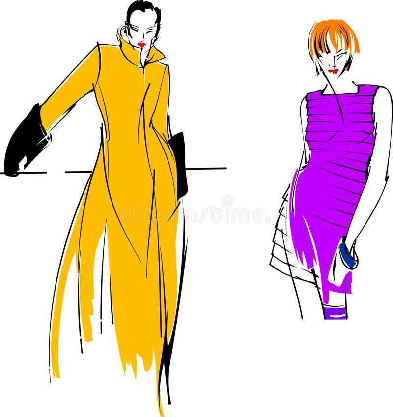 方式女孩紫色黄色 向量例证