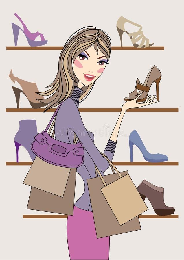 方式女孩鞋店购物向量 库存例证