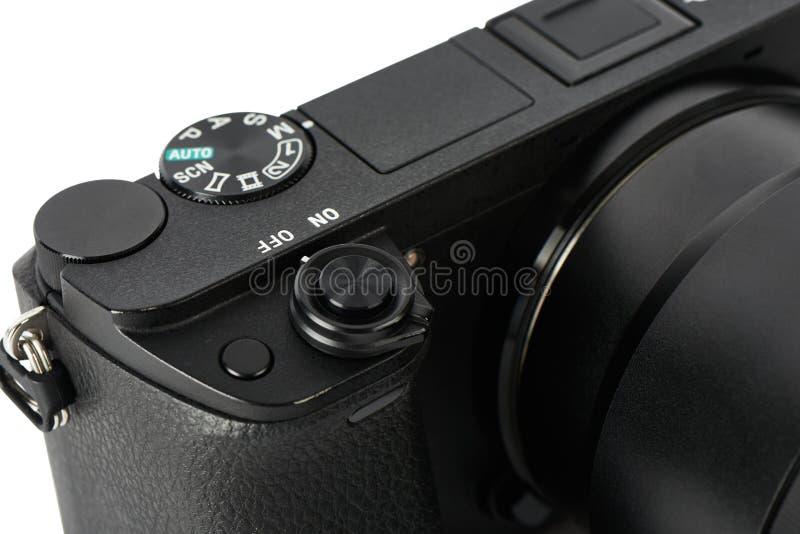 方式拨号盘特写镜头和快门在Mirrorless照相机按 免版税库存照片
