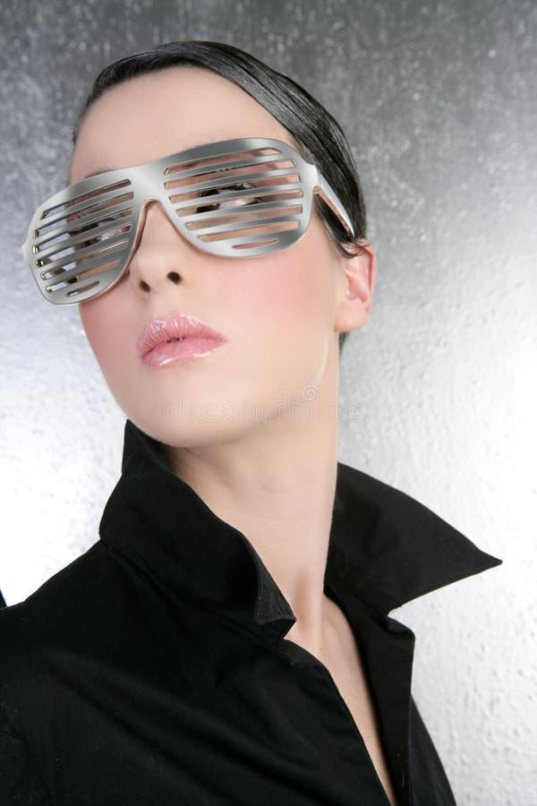 方式未来派玻璃银色妇女 免版税图库摄影