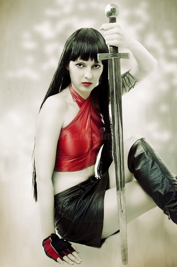方式纵向吸血鬼妇女年轻人 库存照片
