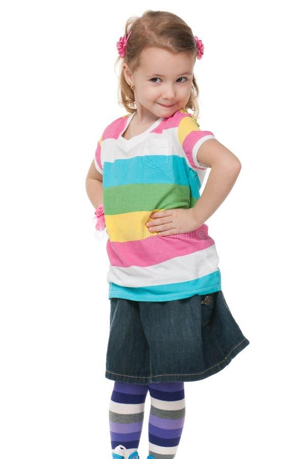 方式镶边的女孩衬衣 图库摄影