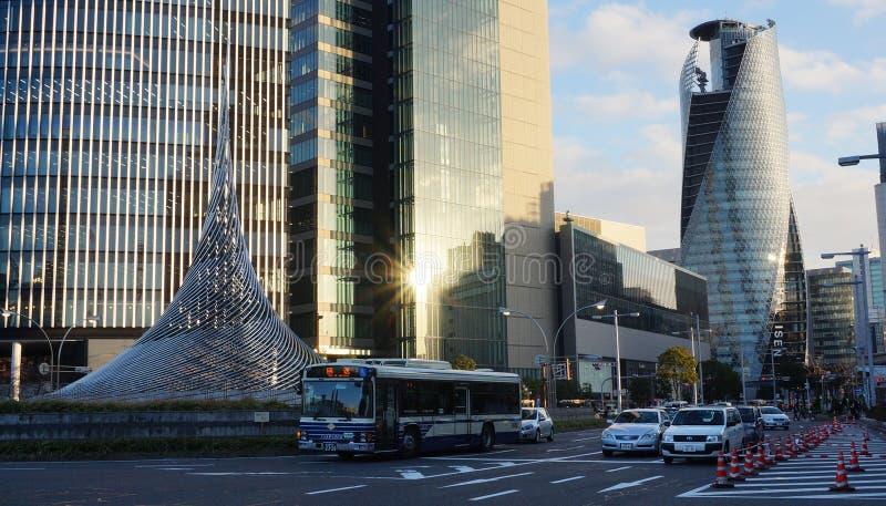 方式Gakuen修造在名古屋的螺旋塔 免版税库存照片