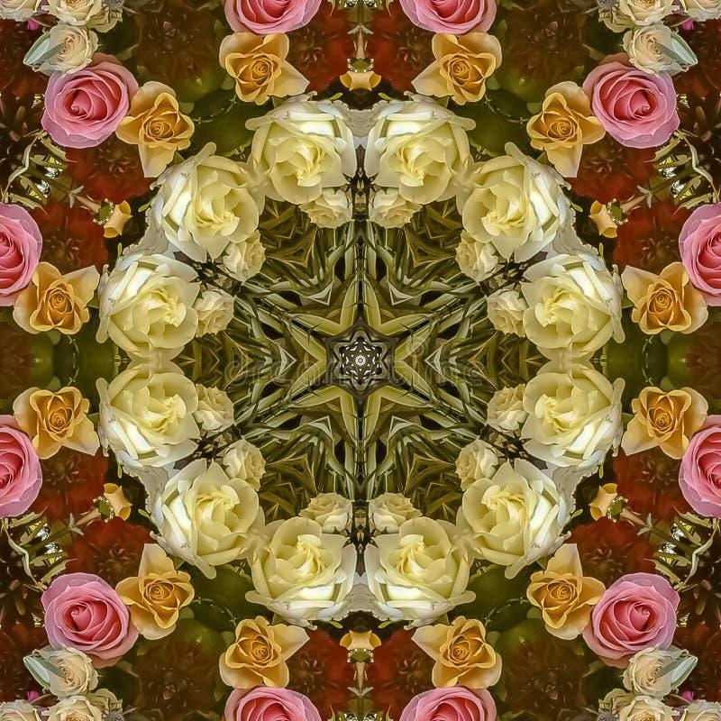方形的与红色和桃红色玫瑰的框架圆花卉设计在婚礼 库存照片