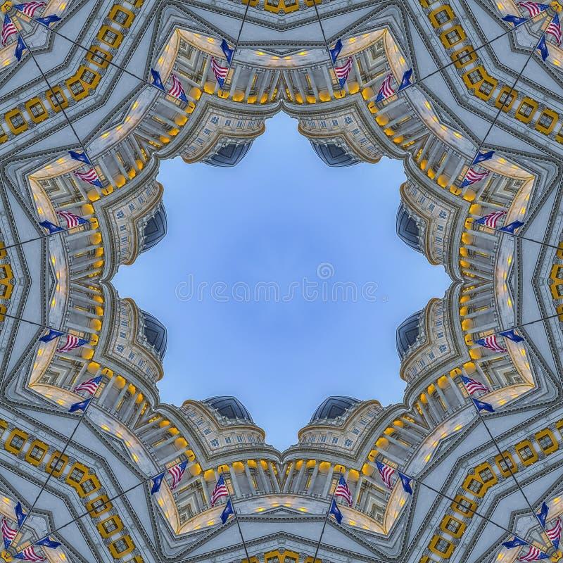 方形的与资本大厦的框架分数维设计圆星 皇族释放例证