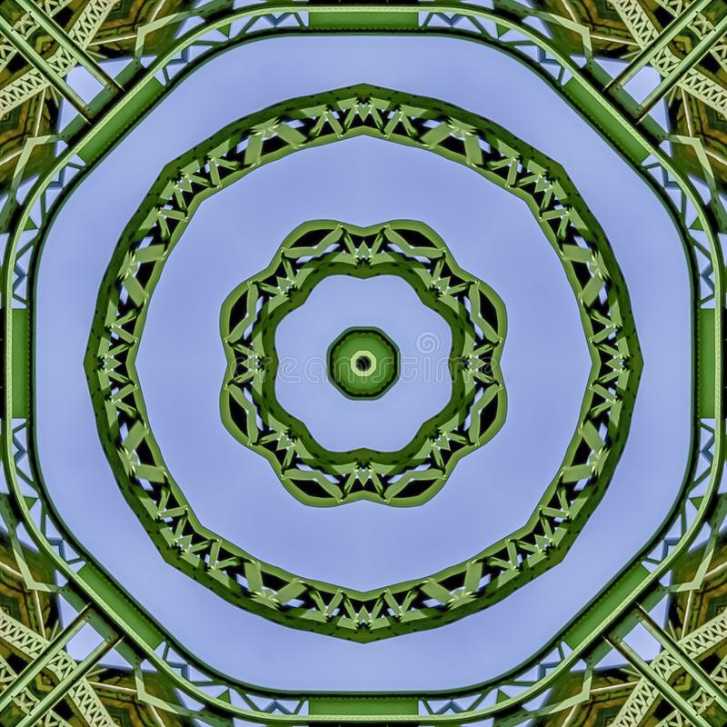 方形的使用反射被创造的框架繁忙的圆绿色金属棒在从桥梁的圆形在加利福尼亚 皇族释放例证