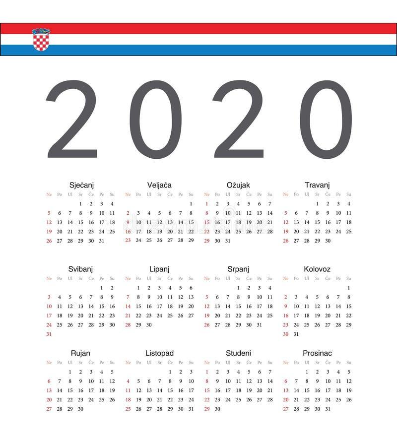 方形的克罗地亚人2020年传染媒介日历 库存例证