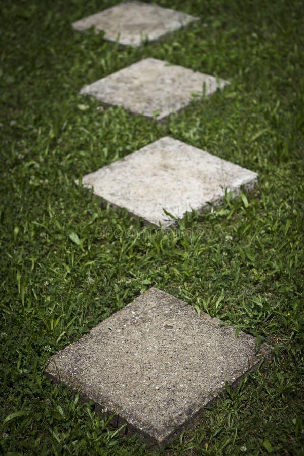 方形的具体Walway板材 免版税库存图片
