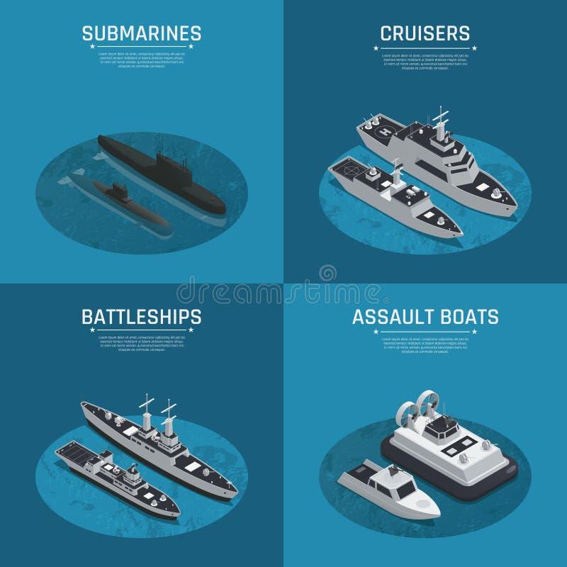 方形的军用小船等量象集合 向量例证