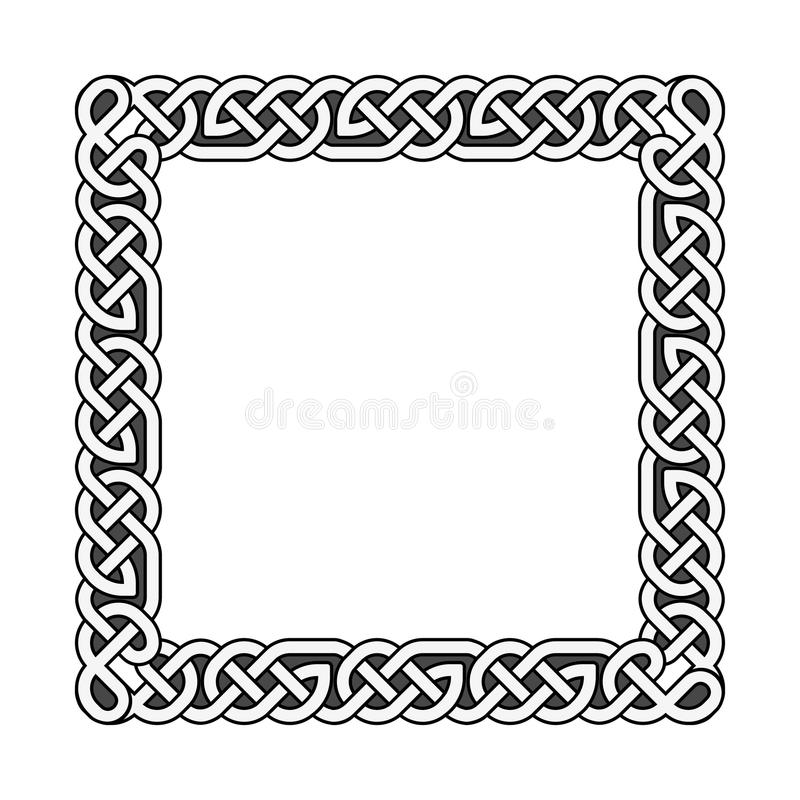 方形的凯尔特结导航在黑白的中世纪框架 皇族释放例证