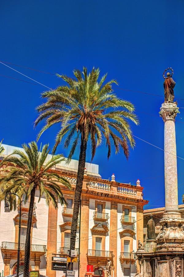 方形的圣的多梅尼科象方尖碑的科隆纳小山谷Immacolata在巴勒莫,西西里岛,意大利 免版税库存照片