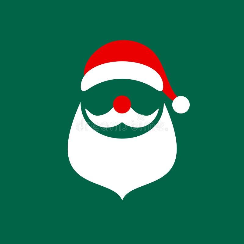 方形的圣诞卡片摘要图表圣诞老人绿色 皇族释放例证