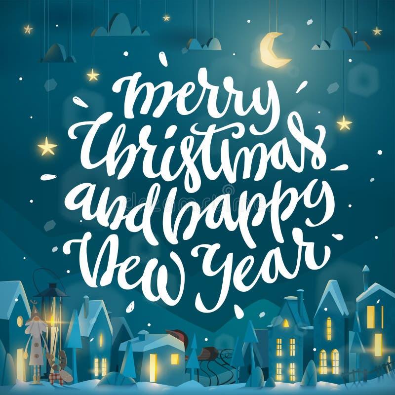 方形的圣诞快乐和新年快乐卡片为寒假 皇族释放例证