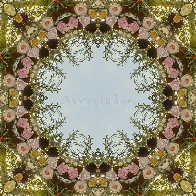 方形的在婚礼的框架圆花卉设计在有玫瑰和其他花的加利福尼亚 图库摄影