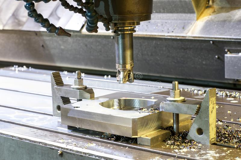 方形的工业金属型/空白碾碎 CNC技术 免版税图库摄影