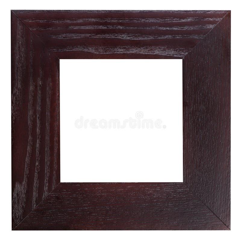 方形的平的黑褐色木画框 免版税库存图片