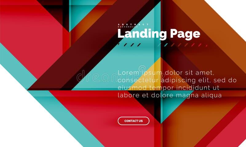 方形的形状几何抽象背景,登陆的页网络设计模板 皇族释放例证