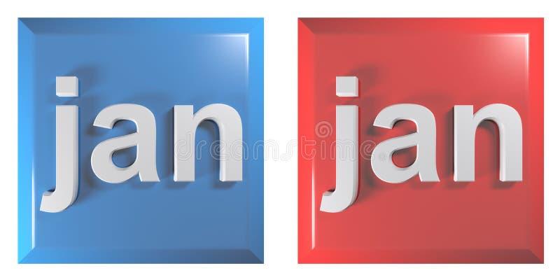 方形的按钮1月- 3D翻译例证蓝色和红色夫妇  向量例证