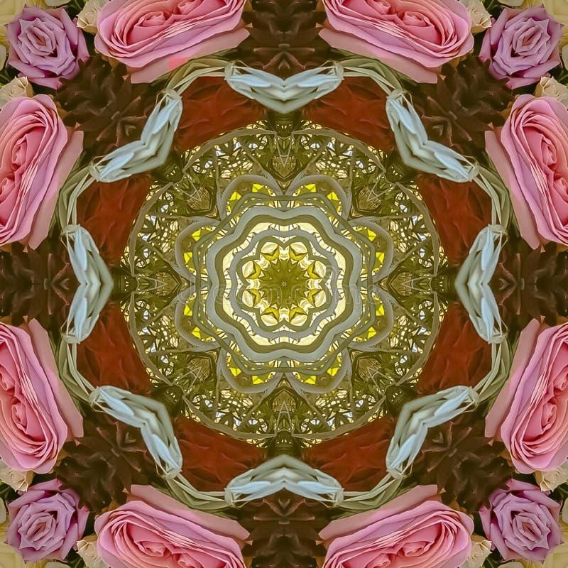 方形的框架桃红色红色紫色玫瑰和绿色叶子被做成抽象形状在加利福尼亚婚礼的日落 免版税图库摄影