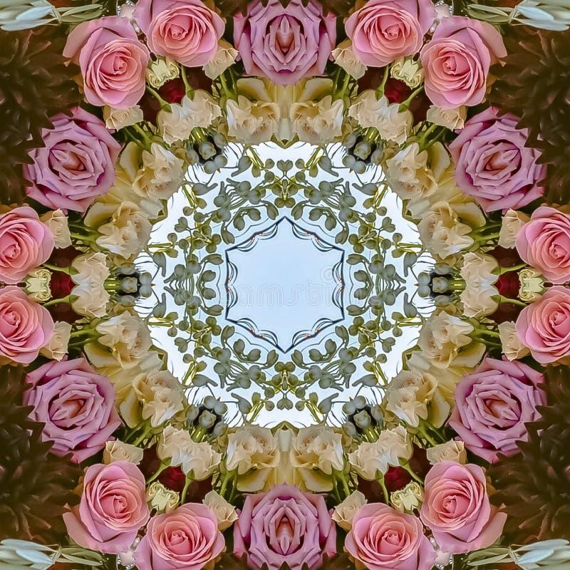 方形的框架桃红色花和绿色叶子被做成抽象形状在加利福尼亚婚礼的日落 库存例证