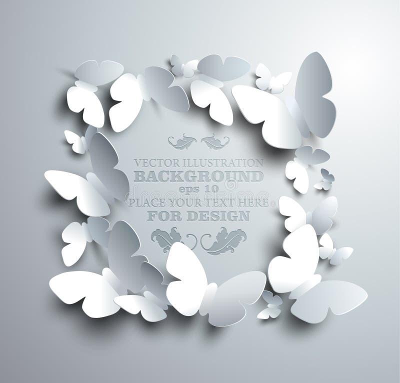 方形的框架由白皮书蝴蝶做成 库存例证