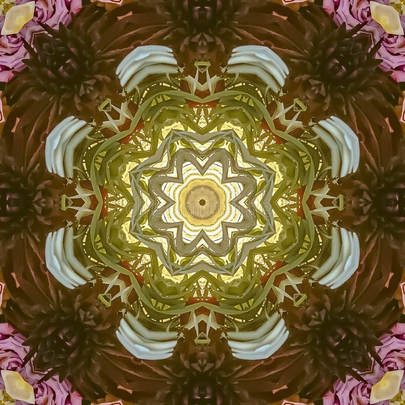 方形的框架紫色和桃红色无言花和玫瑰与绿色叶子在circlar设计形状 库存照片