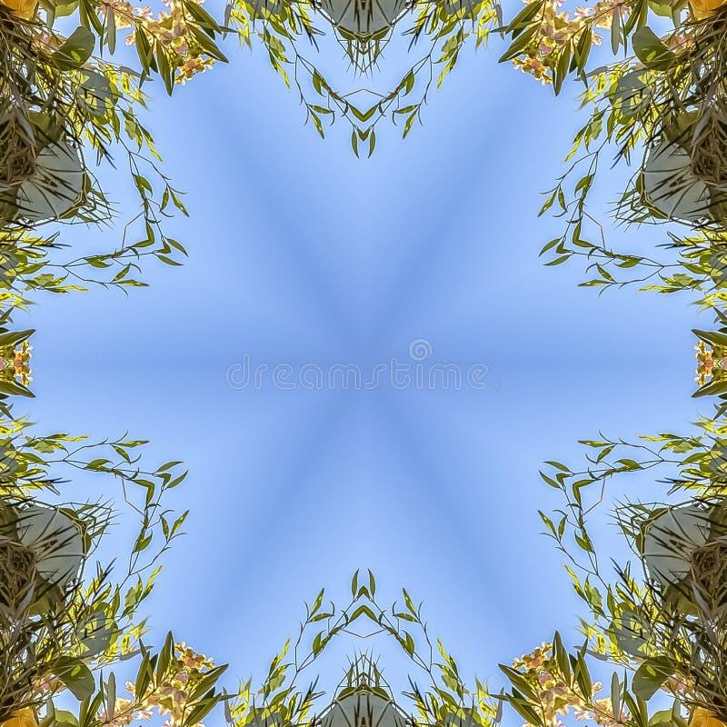 方形的框架通报和有角花卉设计与五颜六色的花从婚礼 库存照片