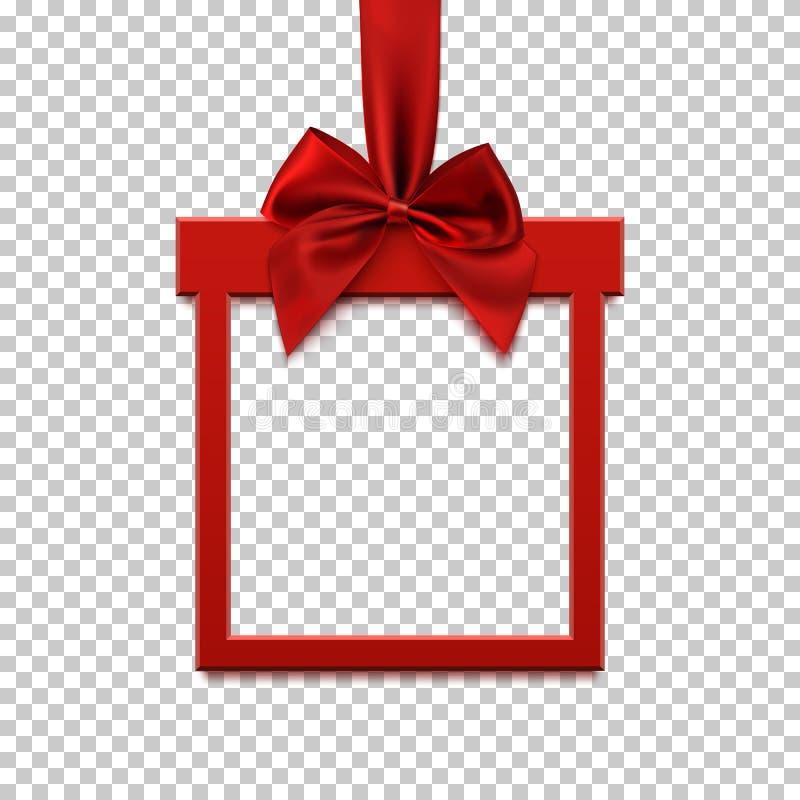方形的横幅以礼物的形式与红色丝带和弓的 皇族释放例证