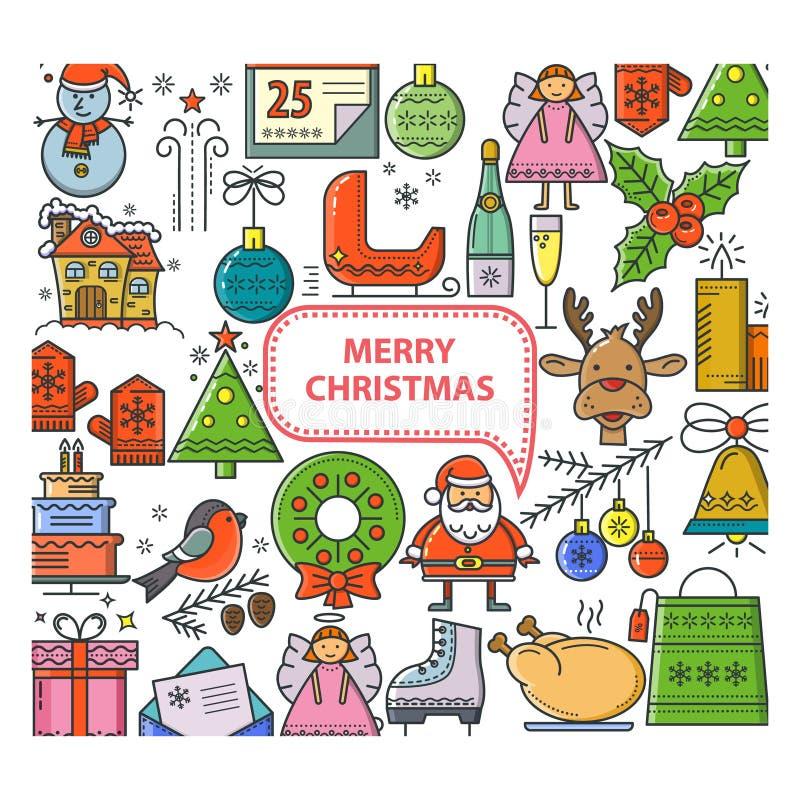 方形的横幅圣诞节 库存例证