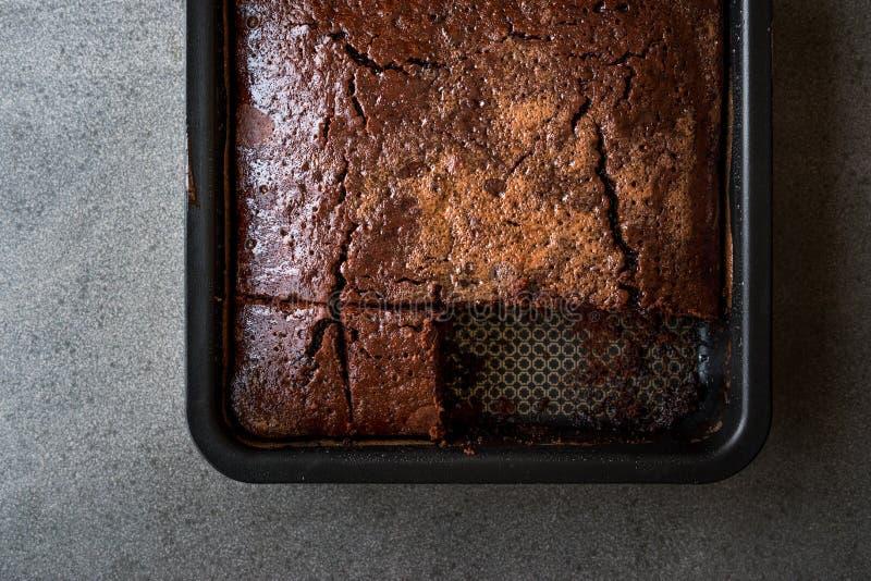 方形的水多的巧克力海绵湿蛋糕用在模子的调味汁 免版税库存照片