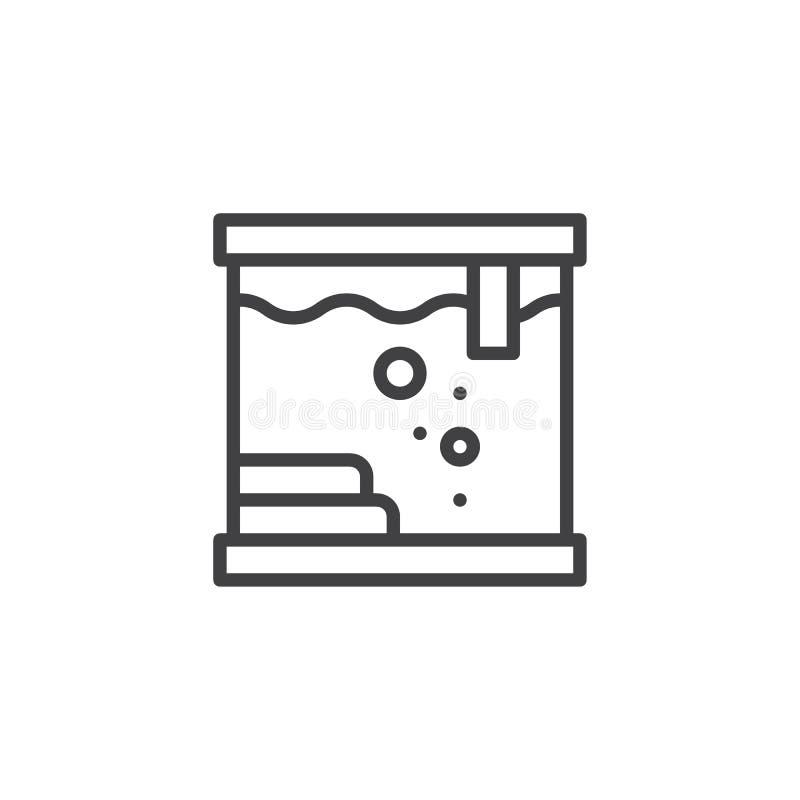 方形的水族馆概述象 库存例证