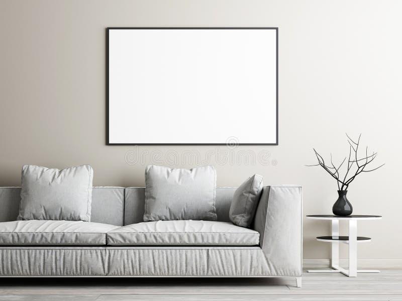 方形的海报嘲笑,沙发和低桌在米黄墙壁背景 皇族释放例证
