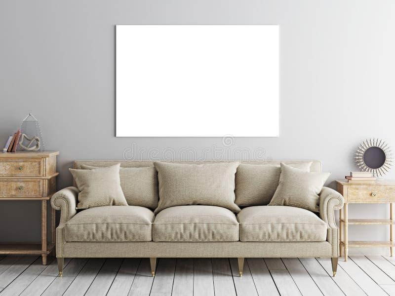 方形的海报嘲笑,沙发和低桌在米黄墙壁backgrou 库存例证