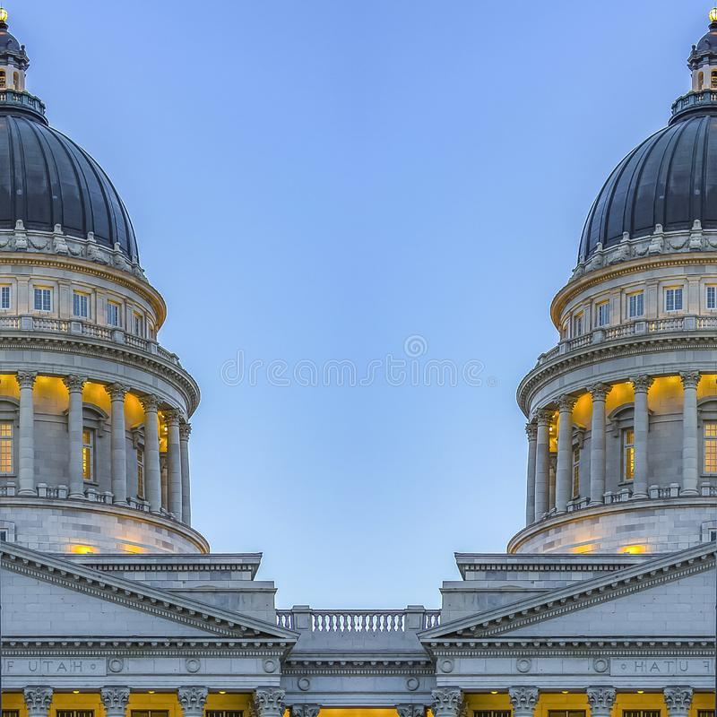 方形的犹他首都大厦的框架双重视图 皇族释放例证