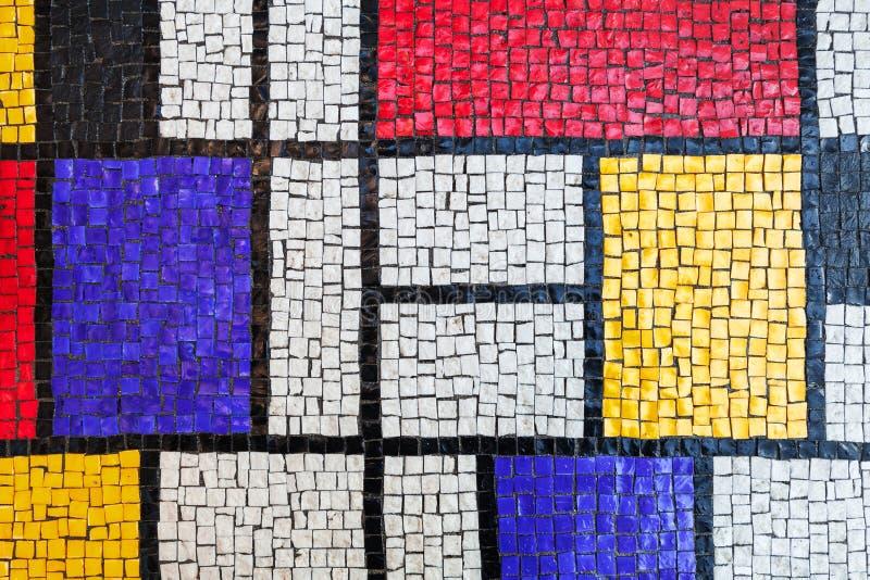 方形的石盖瓦马赛克,五颜六色的背景 免版税库存照片