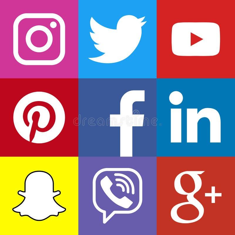 方形的社会媒介商标或社会媒介象模板集合 库存图片
