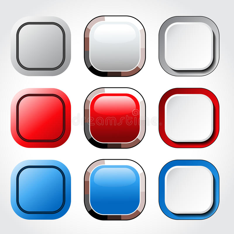 Download 方形的空白的光滑的按钮 向量例证. 插画 包括有 设计, 按钮, 发光, 例证, 背包, 装饰, 形状, 五颜六色 - 30326836