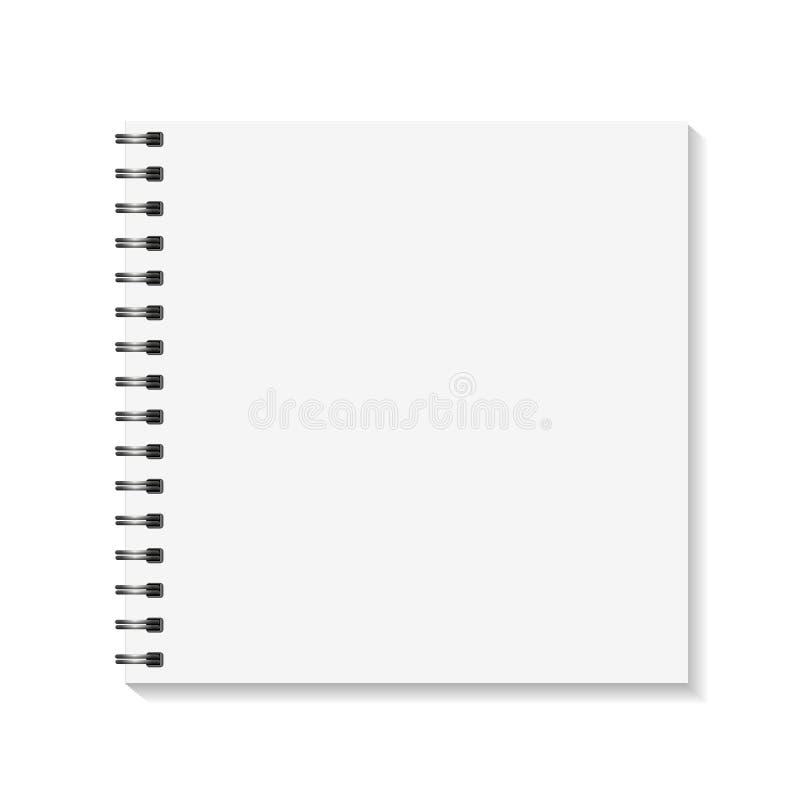 方形的笔记本大模型 空的页预定与黏合剂金属螺旋模板 背景查出的白色 向量 皇族释放例证
