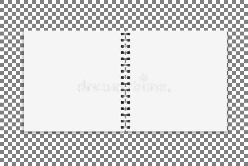方形的笔记本大模型 空的页预定与黏合剂金属螺旋模板 背景查出的白色 向量 库存例证