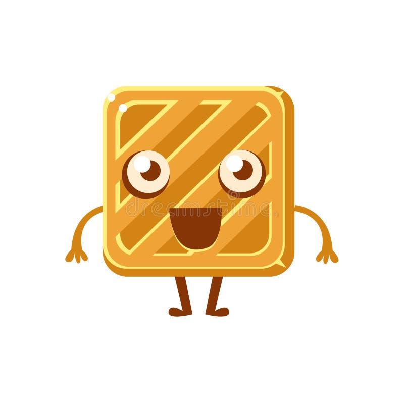 方形的简单的黄油饼干,甜点心酥皮点心幼稚漫画人物 向量例证