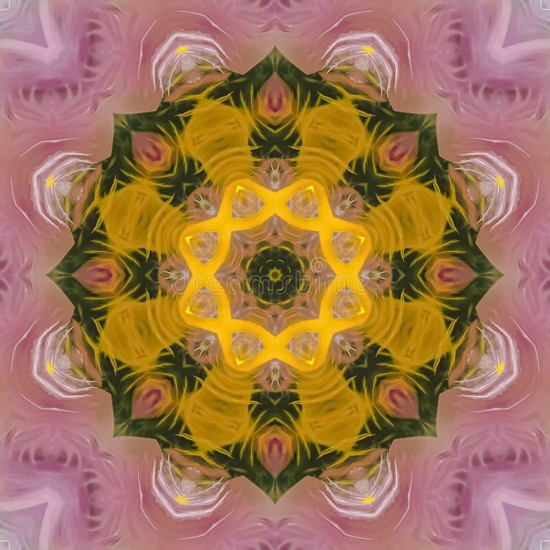 方形的紫色和绿色星与黄色中心区域 库存照片