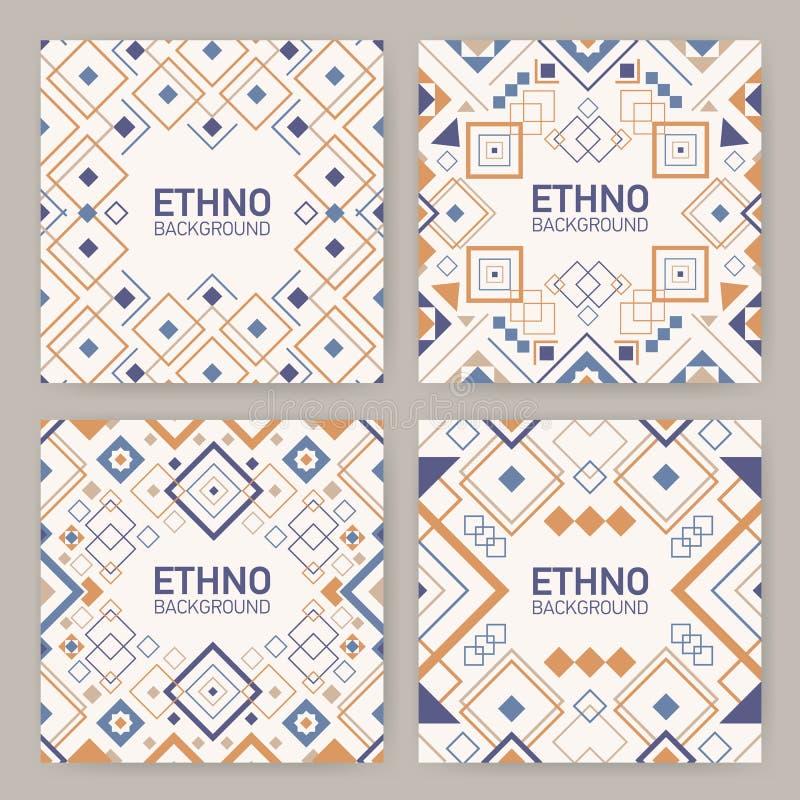 方形的背景的汇集与传统几何阿兹台克装饰品、装饰框架或者边界的 捆绑  皇族释放例证