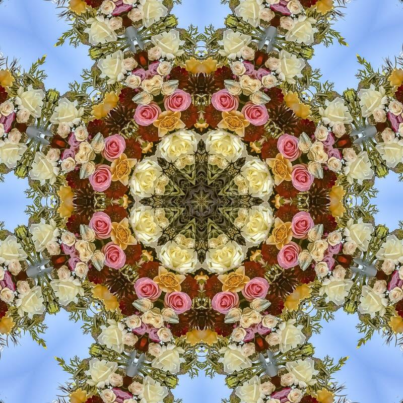 方形的花框架有趣的显示在圆安排的在婚礼在加利福尼亚 库存例证