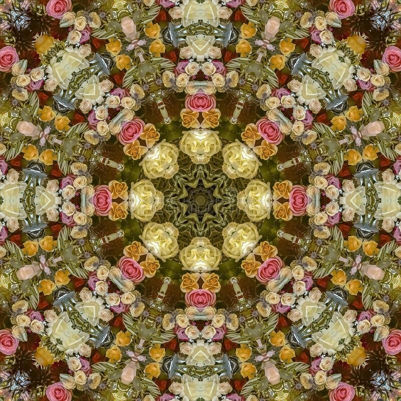 方形的花框架生动的显示在圆安排的在婚礼在加利福尼亚 免版税库存图片