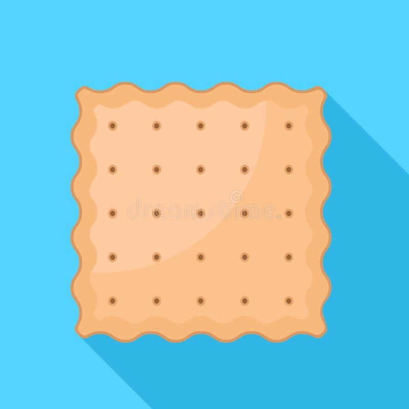 方形的薄脆饼干饼干象,平的样式 库存例证